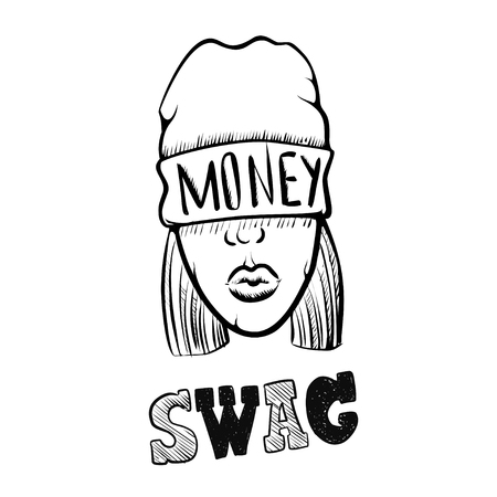 Hip Hop music girl. Pretty Young Urban Rap Girl. Lady Vector artwork. Doodle art isolated on white background. Face emotion illustration.
