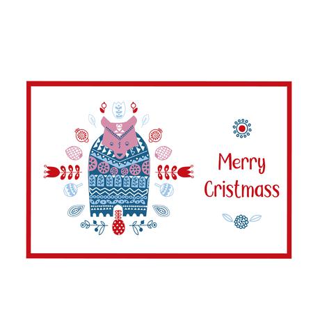 Scandinavian, Nordic style. Christmas card. Ornamental hand drawn winter bear - Vector illustration - doodle style. Inspired folk art pattern. Illustration