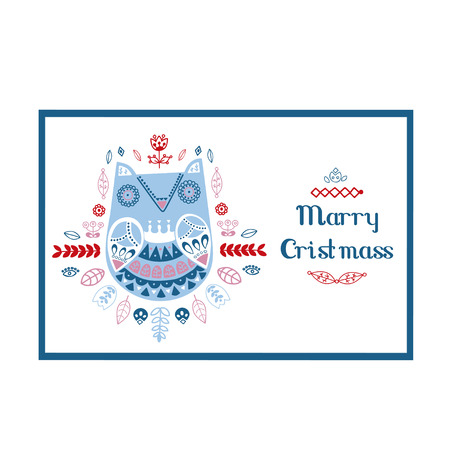 Scandinavian, Nordic style. Christmas card. Ornamental hand drawn owl - Vector illustration - doodle style. Inspired folk art pattern.