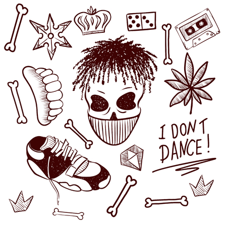 Black isolated hip hop icon set attributes and accessories to create a hip hop style vector illustration. Doodle art isolated on white background. Vector illustration