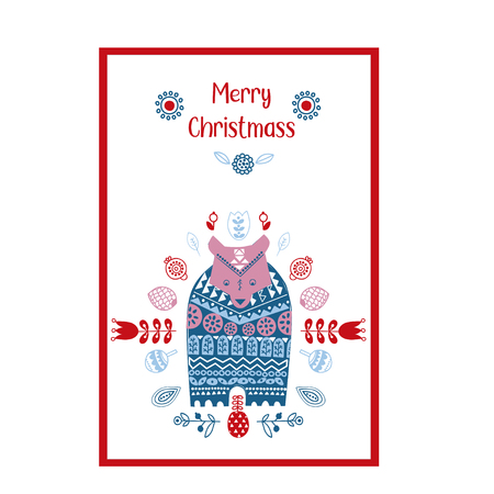 Scandinavian, Nordic style. Christmas card. Ornamental hand drawn winter bear - Vector illustration - doodle style. Inspired folk art pattern. Vettoriali
