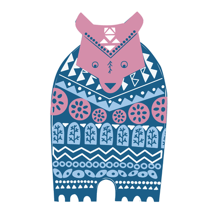 Folk art , ethnic style. Cute winter bear in sweater. Ornamental hand drawn illustration with animal and floral elements. Banco de Imagens - 115068792