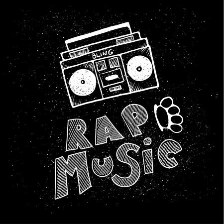 inscription lettering rap music, stylized in doodle style
