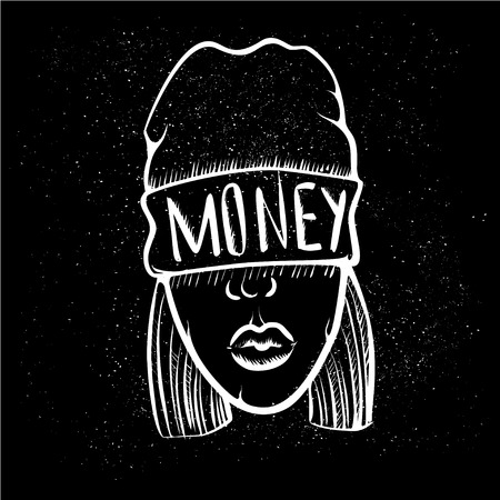 Hip Hop music girl. Pretty Young Urban Rap Girl. Lady Vector artwork. Doodle art isolated on black background. Face emotion illustration. Stock Photo