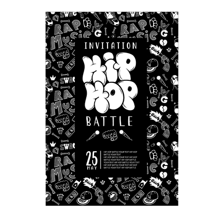 hip hop music, ready-made concept invitation, flyer flyer poster