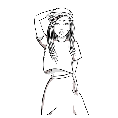 Sports hip-hop girl on white background in the cap, wide trousers. Hand vector illustration.
