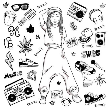 Chica de hip-hop deportivo sobre fondo blanco en la gorra, pantalones anchos, zapatillas de deporte. Ilustración de vector de mano.
