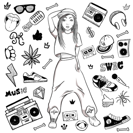 Sports hip-hop girl on white background in the cap, wide trousers, sneakers. Hand vector illustration.