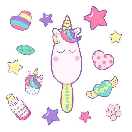 kawaii funny ice cream with unicorn horn, ears and different magic elements. Hand drawn vector illustration. 일러스트