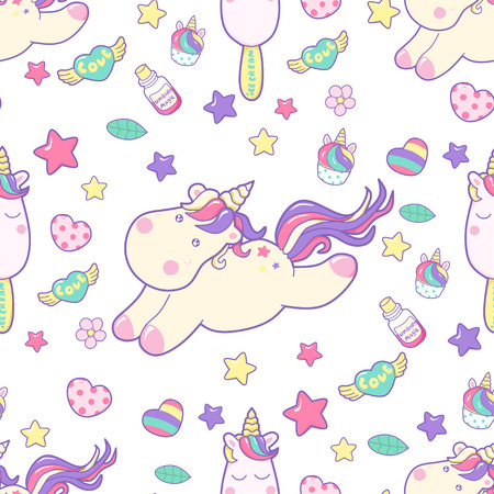 Vector pattern with dreaming unicorn, cute illustration in pastel colors.