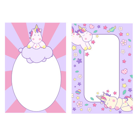 Template with a cute sleeping unicorn, with space for tex and drawing for kids 일러스트