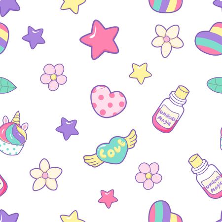 Seamless pattern with cute unicorn cupcake, hearts, stars, flowers, magic bubble, on a pink background