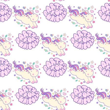 Little Kawaii unicorns, fly, dream, seamless pattern in delicate colors Иллюстрация
