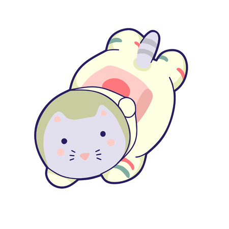 Kawaii cat astronaut helmet. It can be used for sticker, patch, phone case, poster, textile, t-shirt, mug and other design.
