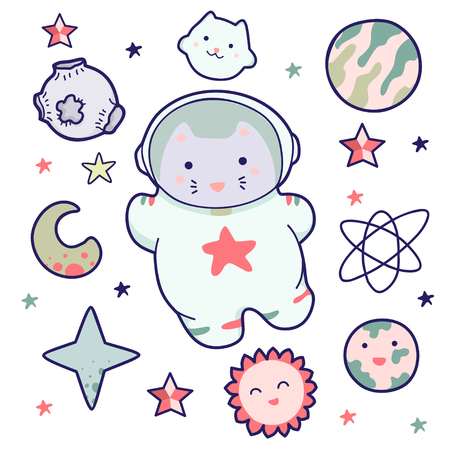 Kawaii Cat, Isolated objects on white background. Line drawing. Design concept for children print.