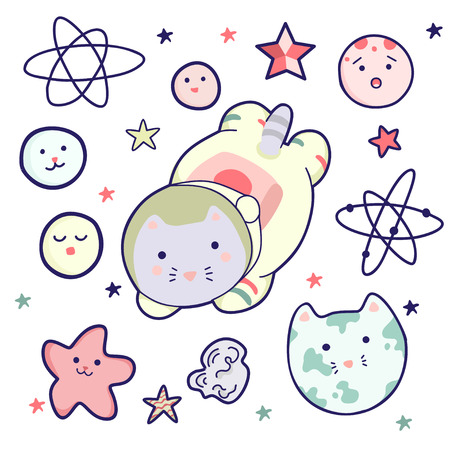 Cute kawaii cat in a suit and helmet and a set of space elements. It can be used for sticker, patch, phone case, poster, textile, t-shirt, mug and other design.