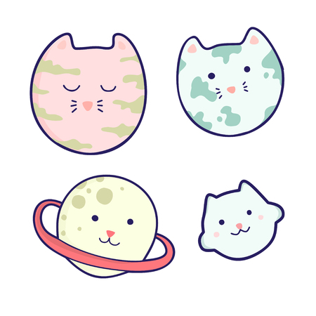 Set of cute kawaii muzzles planets. It can be used for sticker, patch, phone case, poster, textile, t-shirt, mug and other design.