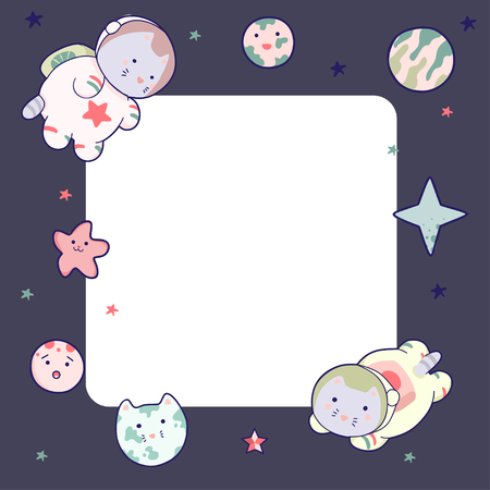 Cute space frame, with Japanese kawaii cat travels in space and a set of cosmic elements.. Vetores