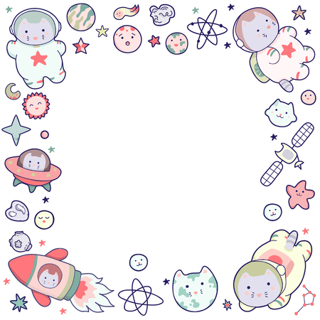 Cute illustration. Vector funny animals clip art. Concept for children frames, letters, certificates, notebooks, notebooks and other printing