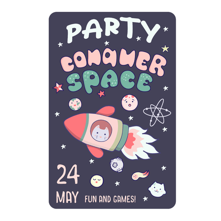 Kawaii illustration. Vector funny animals clip art. Concept for children flyer, invitation, banner, template and other printing