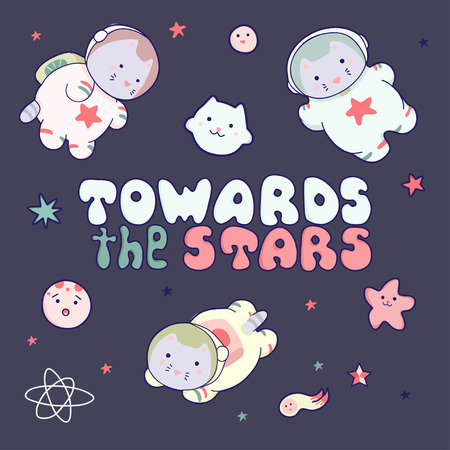 Cute funny animal astronauts cats in space, with planets, stars, quotes. Isolated objects on blue background. Vector illustration. Japanese style design. Concept for children print.