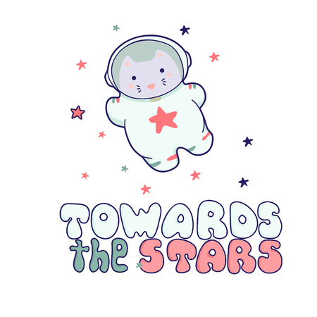 Cute illustration cat in spacesuit and helmet in pastel colors. It can be used for sticker, patch, phone case, poster, textile, t-shirt, mug and other design.