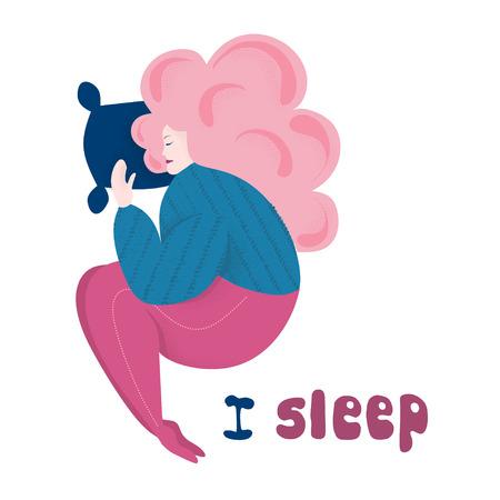 Body positive. Lettering - i sleep. Flat style modern vector illustration isolated on white background.