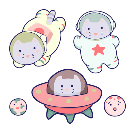 Set space characters in a cartoon style, vector illustration. It can be used for sticker, patch, phone case, poster, textile, t-shirt, mug and other design. Иллюстрация
