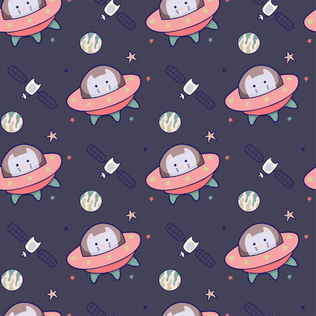 Cosmic seamless pattern, cute doodle rockets, cats floating in space, vector illustration