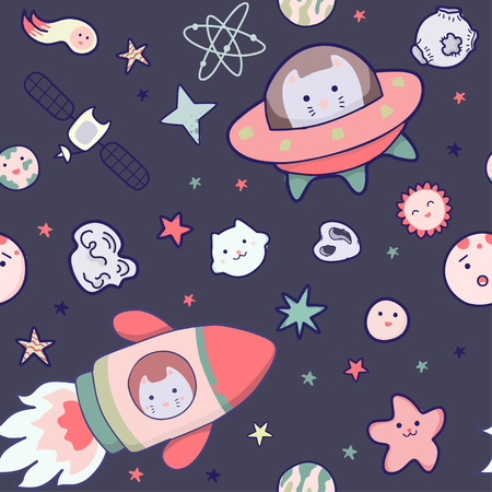 Japanese kawaii cat travels in space seamless pattern. Vector funny animals clip art.