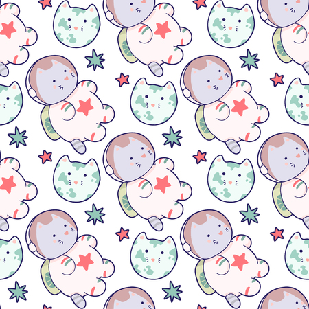 Vector funny animals eamless pattern. Cute illustration. It can be used for sticker, patch, phone case, poster, textile, t-shirt, mug and other design. Иллюстрация