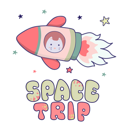 Japanese kawaii cat travels in space and the inscription lettering Space trip. Vector funny animals clip art. Illustration
