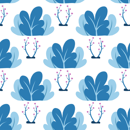 Vector illustration in trendy flat style - plants, leaves, tree - background for banner, greeting card - magic forest Ilustração
