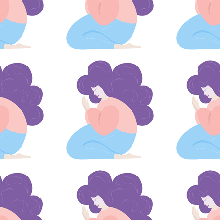Girl prays, meditates while sitting on her lap. vector seamless pattern in flat style