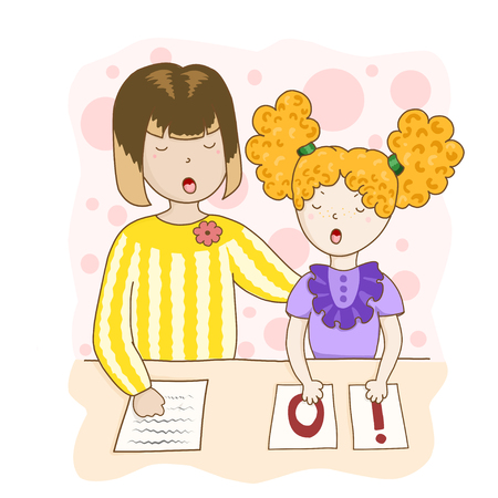 Speech therapist conducts classes with the girl. Children vector illustration in cartoon style. Illustration