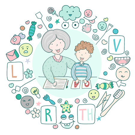 Concept speech therapy logo. School speech development. Classes with speech therapist and set of cute kawaii icons. Staging sounds. Children vector illustration in cartoon style
