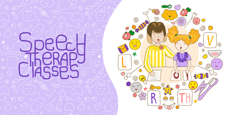 Concept presentation speech therapy. Cute childrens drawings icons in kavai style on the topic of speech therapy. Speech Therapy Concept. Friendly speech and articulation classes Illustration