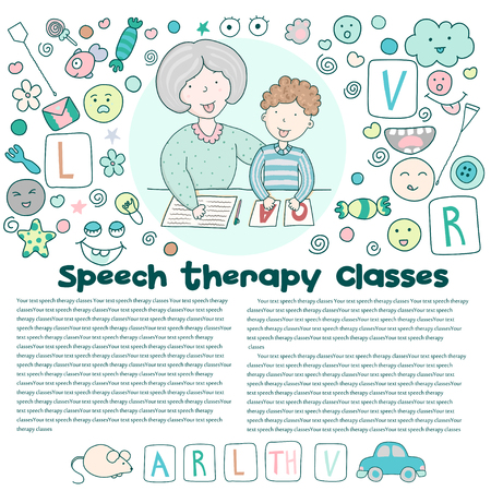 Speech therapist conducts classes with the boy. Children vector illustration in cartoon style. Illustration