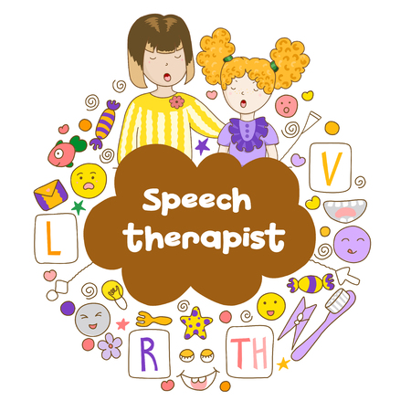Concept speech therapy logo. School speech development. Cute childrens drawings icons in kavai style on the topic of speech therapy. Friendly speech and articulation classes