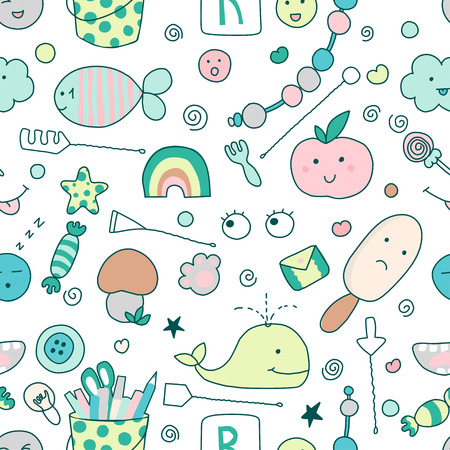 Seamless kawaii child pattern with cute doodles. Cute illustration. It can be used for sticker, patch, phone case, poster, textile, t-shirt, mug and other design.