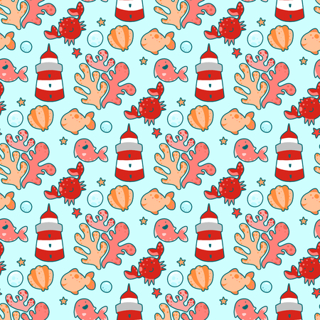 Seamless pattern with sea characters and plants, in Japanese style Иллюстрация