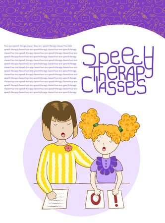 Concept article speech therapy. Cute childrens drawings icons in kavai style on the topic of speech therapy. Friendly speech and articulation classes Illustration