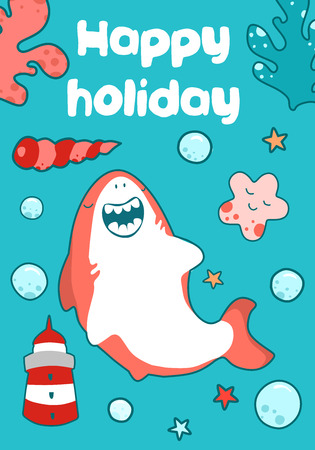 Sea card for children birthday. Cute baby illustration of a shark relax