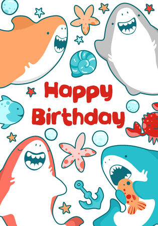 Baby shower animals including shark, fish. Cute cards, postcards with nursery characters for kids