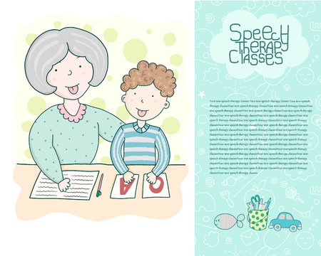 Concept site speech therapy. School speech development. Cute childrens drawings icons in kavai style on the topic of speech therapy. Friendly speech and articulation classes