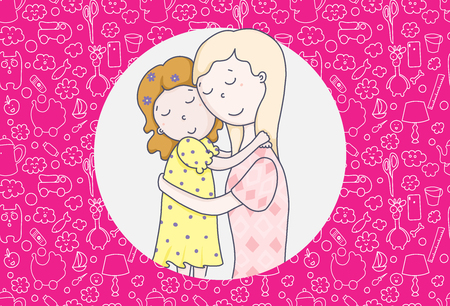 Daughters-mothers. Full understanding love and tenderness. Attachment theory. Cartoon vector illustration.The best mom and daughter.