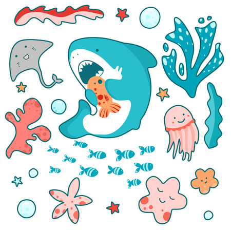 Cute shark swims in the sea and eats fish, fun illustration in kawaii style