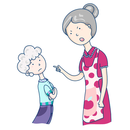 Mom scolds her son, relationships with parents, emotional scene. The generation of the current parents is prone to hyperstarting. Vector cartoon illustration