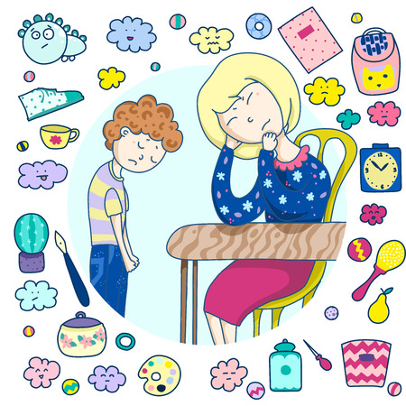 A weak mother is not able to solve her son s problems, cannot provide support, give attention. A frame of cute icons, items, toys, utensils. Cartoon vector illustration.