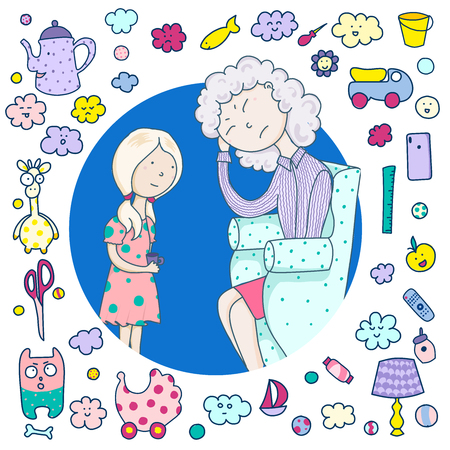 Mom is tired and upset, daughter take care of mom, she made her tea. A frame of cute icons, items, toys, utensils.